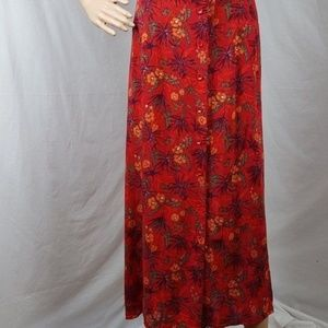 Skirt XL Red Floral Midi 100% Rayon Button Front